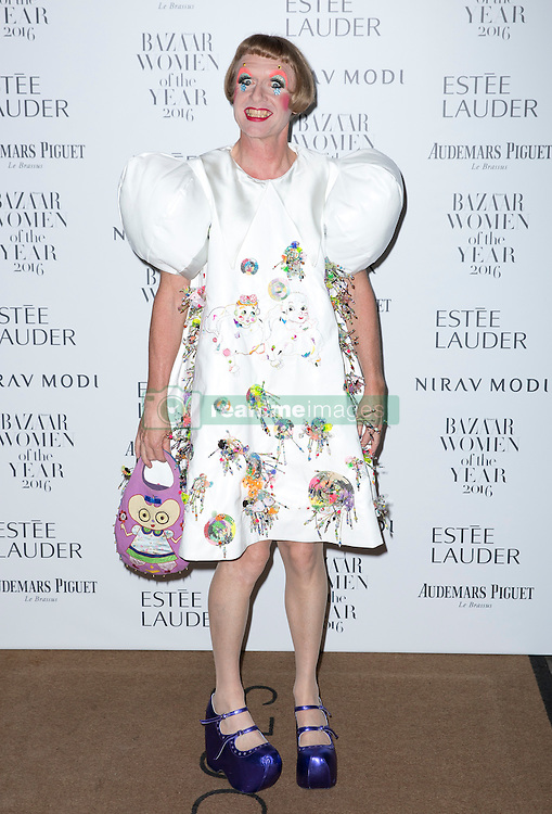 Grayson Perry attending the Harper's Bazaar Woman of the Year awards at Claridges in London. Picture date: Monday October 31, 2016. Photo credit should read: Isabel Infantes / EMPICS Entertainment.
