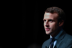 Former French Economy Minister, founder and president of the political movement En Marche ! (Underway !) and candidate for the 2017 presidential elections Emmanuel Macron speaks to the medias delivers speech during a campaign meeting in Nevers, Nievre, France on January 6, 2017. Photo by Francois Pauletto