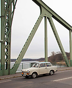 Glienicke bridge, is known as the Bridge of Spies due to the import route between East and West Germany for which it formed the border, and its use to exchnage spies during the Cold War. Potsdam, Brandenburg, Germany.