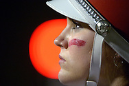 A member of the Seabreeze Marching Band waits to perform before a high school football game against Mainland in Daytona Beach, Fla., Friday, Nov. 1, 2013. (Special to the Sentinel/Phelan M. Ebenhack)