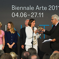 VENICE, ITALY - JUNE 04:   Susanne Gaensheimer  Commissioner of the German Pavillion receives from Paolo Baratta President of the Biennale the Golden Lion for Best National Participation awarded to the German Pavillion at the Official Awards  of the 54th International Art Exhibition on June 4, 2011 in Venice, Italy. This year's Biennale is the 54th edition and will run from June 4th until 27 November.
