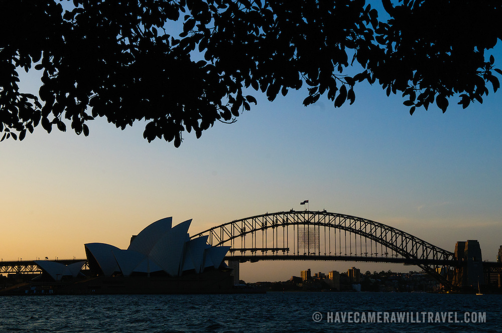 Sydney Opera House and Sydney Harbour Bridge silhoutte with trees framing the view from Mrs. Macquarie's Point