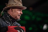 Gord Downie is movedf to tears after receiving his first nation's name, Man who walks among the stars, and star blanket, at the special chiefs assembly in Ottawa in December 2016.