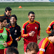 Galatasaray's players Juan Emmanuel CULIO (2ndL) and Colin Kazim RICHARDS (C) during their training session at the Jupp Derwall training center, Thursday, January 13, 2010. Photo by TURKPIX