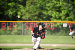 Belmont senior Cole Contigiani fires a pitch during a Division III quarter final game against Mascenic at Belmont High School on Saturday, June 3, 2017.  (Alan MacRae for the Laconia Daily Sun)
