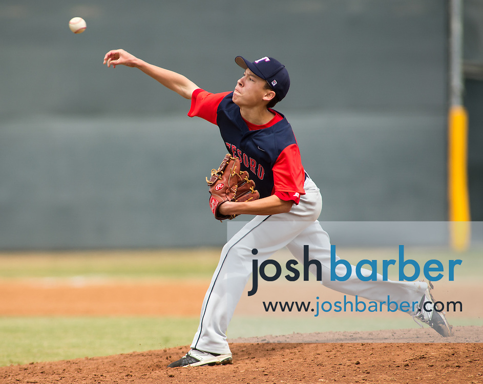 Tesoro's Johnny Newcomb (1) pitching during the Edison Tournament at Edison High School on Saturday, April 25, 2015 in Huntington Beach, Calif. (Photo/Josh Barber)