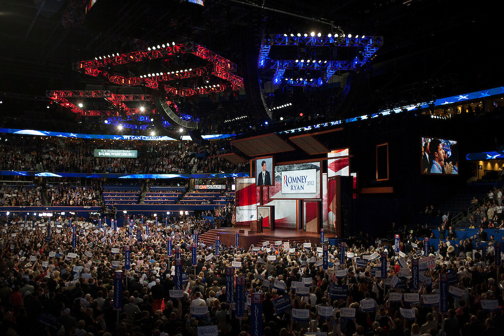 Paul Ryan's speech at the RNC in Tampa, FL, on Wednesday, Aug. 29, 2012. ..Photograph by Andrew Hinderaker for TIME.