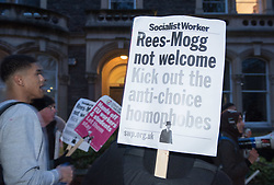 © Licensed to London News Pictures. 16/02/2018. Bristol, UK. Protest at Bristol University against the visit of Jacob Rees-Mogg MP to speak to the Bristol University Conservative Association. Two weeks ago Rees Mogg spoke at UWE when protestors broke into the hall and there was confrontation. Photo credit: Simon Chapman/LNP
