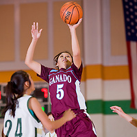 121312       Cable Hoover<br /> <br /> Ganado Hornet Nicole Curley (5) shoots over the Thoreu Hawks Thursday at Wingate High School.