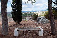 A bench is located at a Christian religious site in Qana, Lebanon, where many believe that Jesus performed his first miracle, changing water to wine at a wedding party.