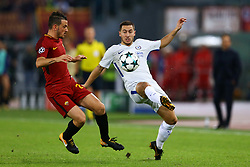 October 31, 2017 - Rome, Italy - Alessandro Florenzi of Roma and Eden Hazard of Chelsea  during the UEFA Champions League football match AS Roma vs Chelsea on October 31, 2017 at the Olympic Stadium in Rome. (Credit Image: © Matteo Ciambelli/NurPhoto via ZUMA Press)