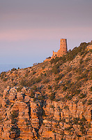 Hopi Tower at Desert View glowing in the evening light, Grand Canyon National Park