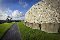 The exterior of the Newgrange stone monument and tomb in Ireland