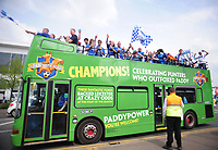 Football - 2015 / 2016 Premier League - Leicester City vs. Everton<br /> <br /> Leicester City fans arrive in the Paddy Power open top bus at the King Power Stadium.<br /> <br /> COLORSPORT/ANDREW COWIE