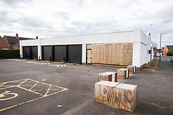 © Licensed to London News Pictures. 30/10/2017. Northallerton, UK. GV shows the derelict former tyre garage where witnesses reported seeing a large number of police over the weekend in Northallerton, North Yorkshire, where two boys aged 14 have been arrested by counter terror police on suspicion of preparing an act of terrorism. Photo credit: Andrew McCaren/LNP