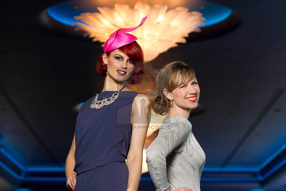 Repro Free: 21/05/2013 .The g Hotel Launches Its Luxury Five Star Event Suite .Television fashion presenter, Stylist and now fashion designer Sonia Lennon is pictured at the launch of the five star g Hotel's new luxury event suite, The g Suite, with model Sylvia, who is dressed in a Philip Treacy hat from Design Centre, and a dress from Harvey Nichols. Galway's only five star property launched the new space, created to compliment acclaimed milliner Philip Tracey's interior design of the award winning hotel,  the perfect wedding day venue or events space. Situated in the heart of Galway City, The g Suite replicates the hotel's interior, boasting an art deco feel to the new rooms, with a navy, white and silver colour scheme. Overlooking Lough Atalia, the suite can cater for weddings of up to 200 peoples and events for up to 300 people. Picture Andres Poveda