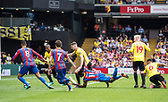Wilfried Zaha (11) of Crystal Palace, Yohan Cabaye (7) of Crystal Palace, Ruben Loftus-Cheek (8) of Crystal Palace, Watford (16) Abdoulaye Doucouré, Watford (19) Will Hughes, Watford (6) Adrian Mariappa  during the Premier League match between Watford and Crystal Palace at Vicarage Road, Watford, England on 21 April 2018. Picture by Sebastian Frej.