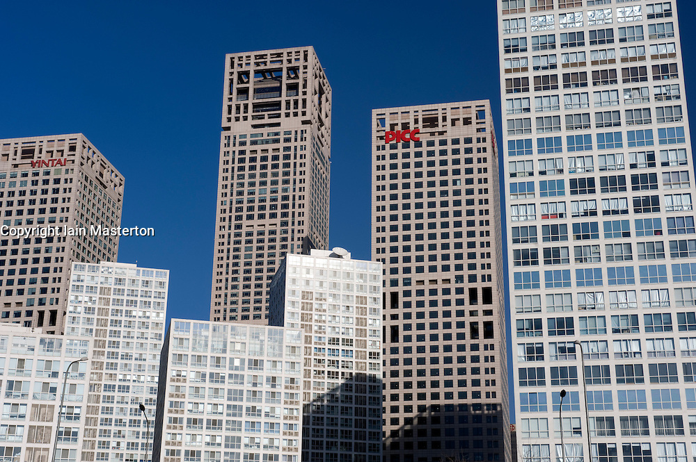Many modern high rise office towers in central business district or CBD of Beijing China