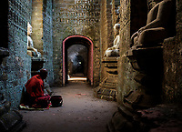 MRAUK U, MYANMAR - CIRCA DECEMBER 2017: Monk inside the Koe Thaung Pagoda In Mrauk U, Rakhine State.