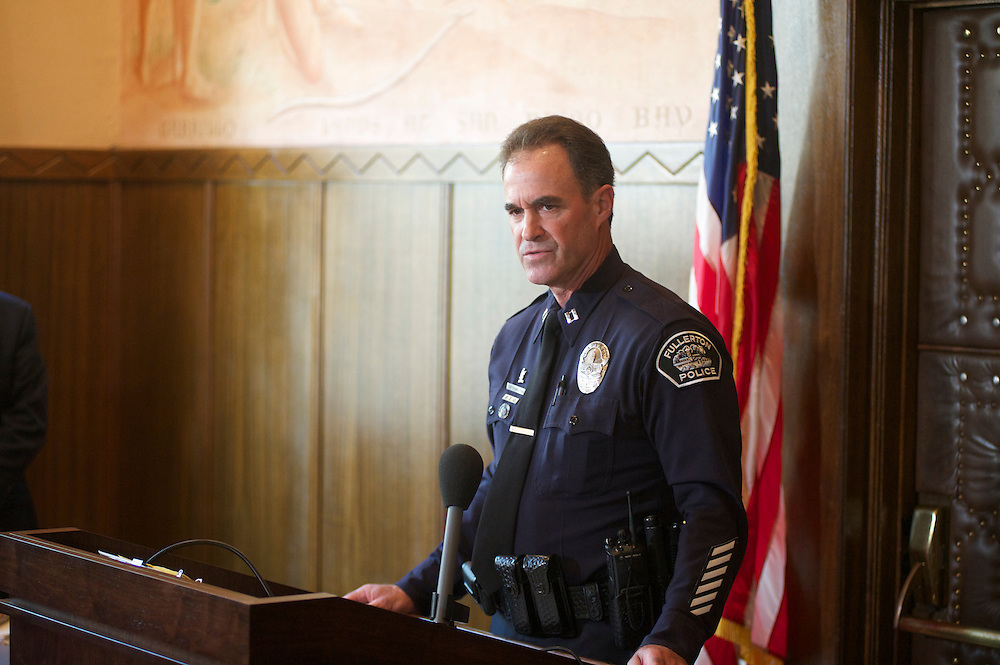 Fullerton Police hold a press conference following the filing of murder and manslaughter charges against two Fullerton police officers.