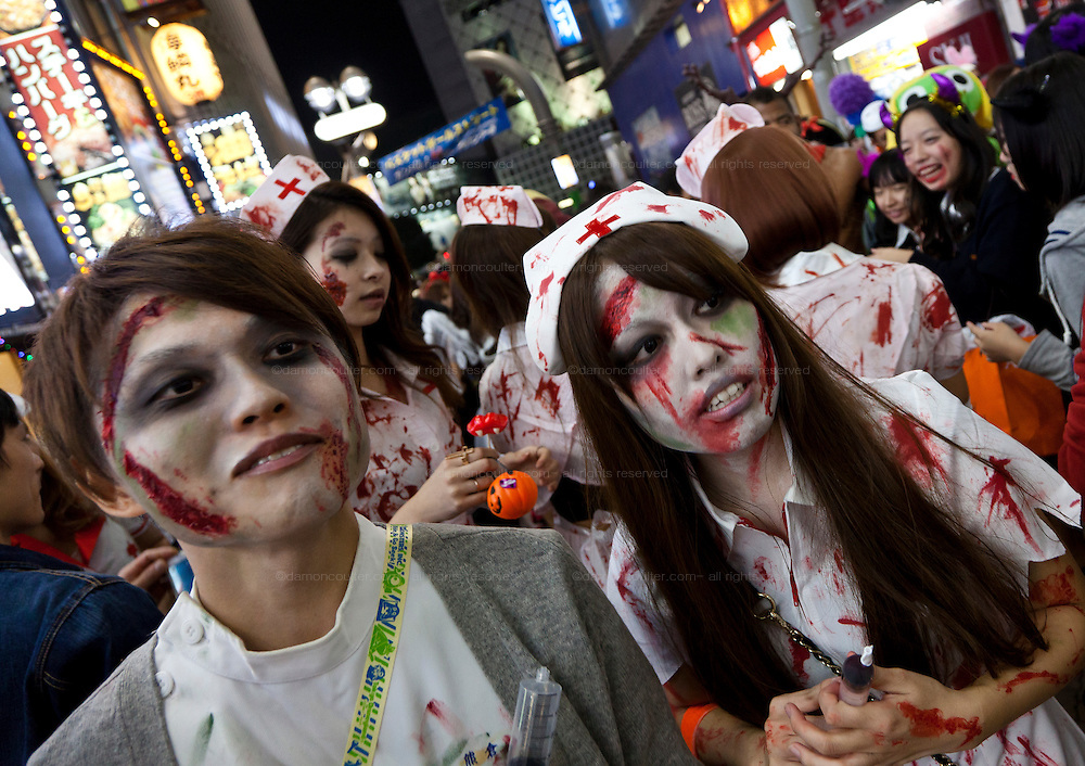 Young people dressed in doctor and nurses costumes to celebrate Halloween in Shibuya, Tokyo, Japan. Thursday, October 31st 2013