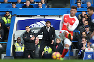 Antonio Conte, the Chelsea manager looking on from the touchline. Premier league match, Chelsea v Arsenal at Stamford Bridge in London on Saturday 4th February 2017.<br /> pic by John Patrick Fletcher, Andrew Orchard sports photography.