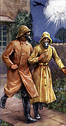 Air Raid Precautions: Set of 50 cards issued by WD & H0 Wills, Britain 1938, in preparation for the anticipated coming of World War II.  Heavy anti-gas suit issued Decontamination Squads .