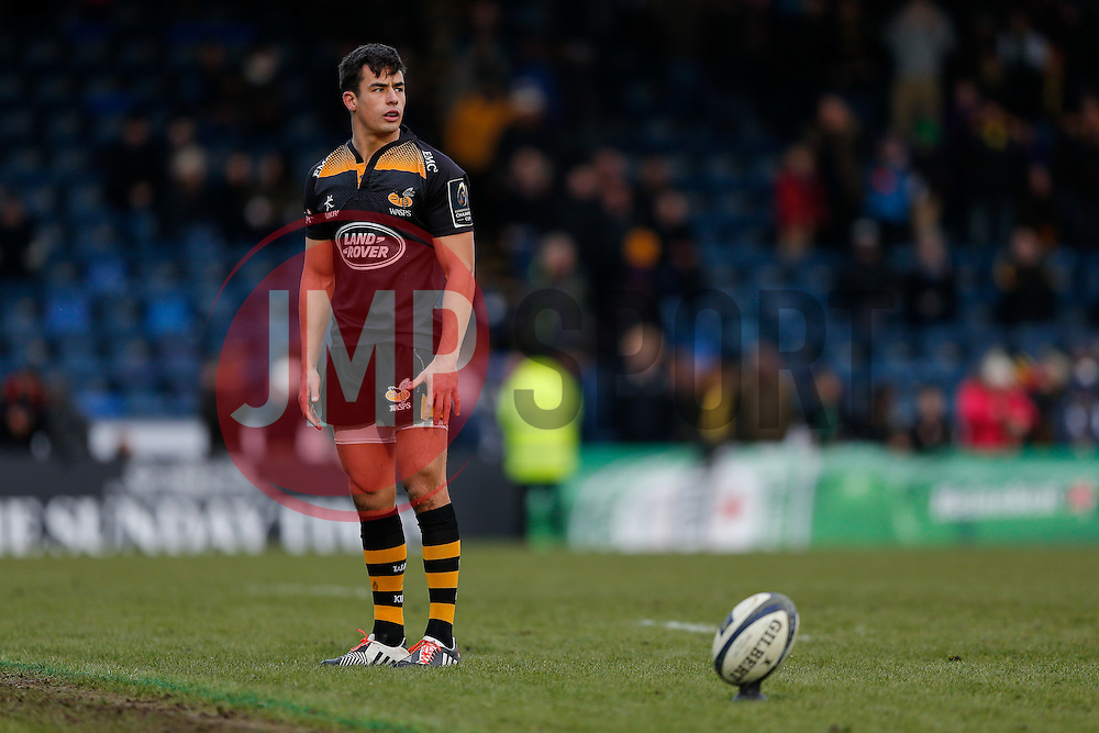Wasps replacement Alex Lozowski prepares to take a conversion to complete his sides victory in their last match at Adams Park - Photo mandatory by-line: Rogan Thomson/JMP - 07966 386802 - 14/12/2014 - SPORT - RUGBY UNION - High Wycombe, England - Adams Park Stadium - Wasps v Castres Olympique - European Rugby Champions Cup Pool 2.