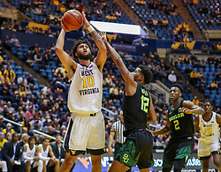 Jan 21, 2019; Morgantown, WV, USA; West Virginia Mountaineers guard Jermaine Haley (10) shoots during the second half against the Baylor Bears at WVU Coliseum. Mandatory Credit: Ben Queen-USA TODAY Sports