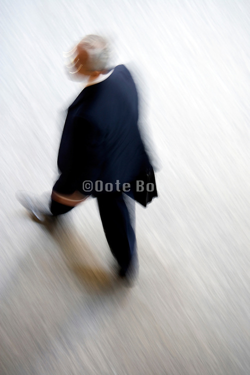 overhead view of businessman walking