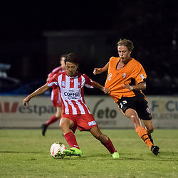 BRISBANE, AUSTRALIA - FEBRUARY 25: Kazuya Ito controls the ball during the NPL Queensland Senior Men's Round 1 match between Olympic FC and Brisbane Roar Youth at Goodwin Park on February 25, 2017 in Brisbane, Australia. (Photo by Patrick Kearney/Olympic FC)