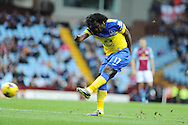 Everton's Romelu Lukaku has a shot. Barclays Premier League, Aston Villa v Everton at Villa Park in Aston, Birmingham on Saturday 26th Oct 2013. pic by Andrew Orchard, Andrew Orchard sports photography,