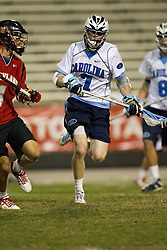 23 April 2010: North Carolina Tar Heels  midfielder Tyler Morton (7) during a 13-5 loss to the Maryland Terrapins in the first round of the ACC Tournament at Byrd Stadium in College Park, MD.