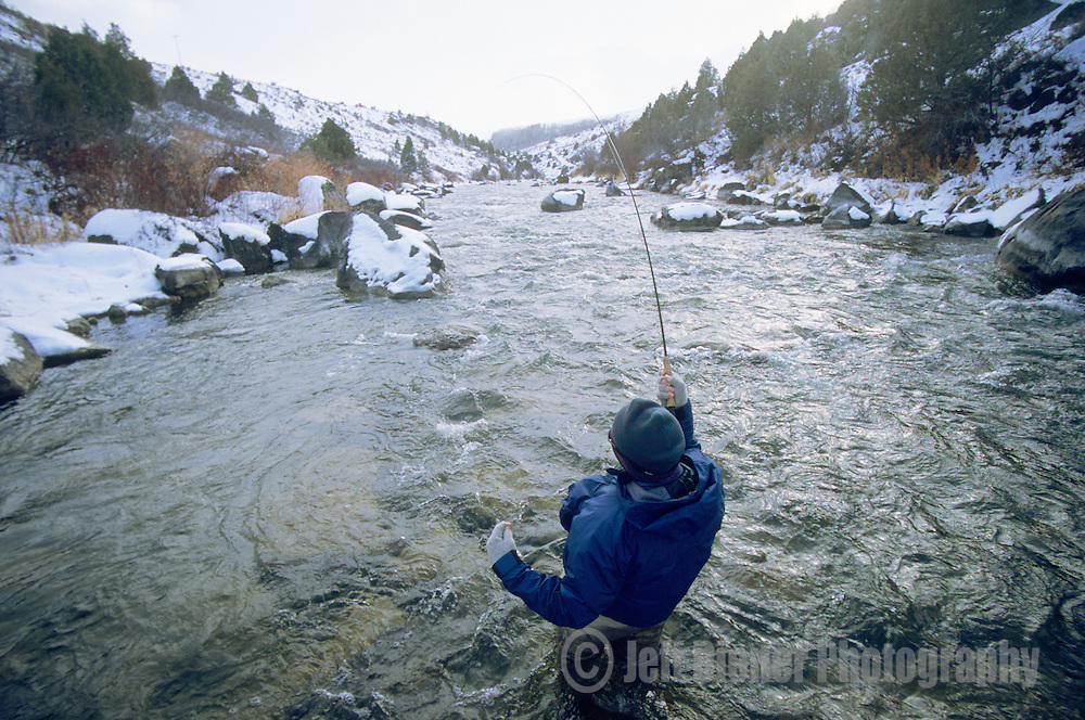 A young man fly fishes on the Teton River, Idaho.