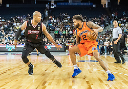 July 6, 2018 - Oakland, CA, U.S. - OAKLAND, CA - JULY 06: Andre Emmett (2) of 3's Company dribbles in front of Dahntay Jones (1) of Trilogy during game 1 in week three of the BIG3 3-on-3 basketball league on Friday, July 6, 2018 at the Oracle Arena in Oakland, CA  (Photo by Douglas Stringer/Icon Sportswire) (Credit Image: © Douglas Stringer/Icon SMI via ZUMA Press)