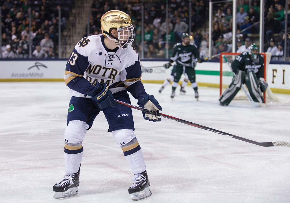 March 08, 2019:  Notre Dame forward Colin Theisen (13) during NCAA Hockey game action between the Michigan State Spartans and the Notre Dame Fighting Irish at Compton Family Ice Arena in South Bend, Indiana.  Notre Dame defeated Michigan State 1-0.  John Mersits/CSM