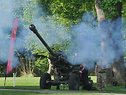 Pictured: Ruth fires the gun to start the event.<br /> <br /> Scottish Conservatives leader Ruth Davidson get's the ball rolling on the soldiers charity golf event by firing the 105th Regiment's gun at Duddingston Golf Course.<br /> <br /> © Dave Johnston/ EEm
