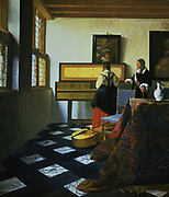'Woman at a virginal, with a man'.  Jan Vermeer (1632-1675) Dutch painter. Royal Collection, London.