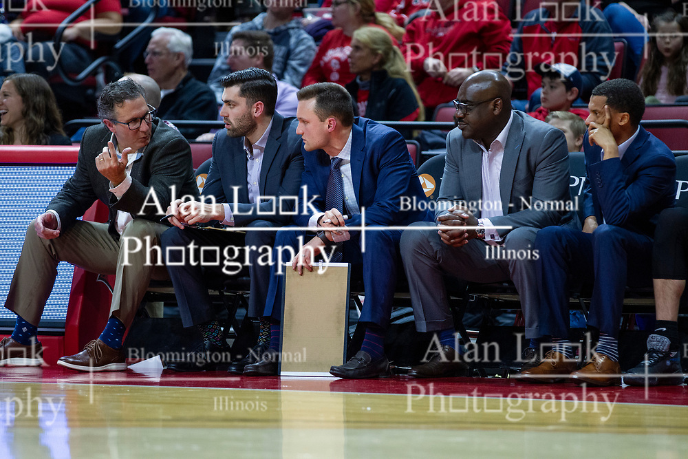 NORMAL, IL - January 29: Todd Lickliter, Issac McGlone, Logan Baumann, Bennie Seltzer and Terrence Commodore during a college basketball game between the ISU Redbirds and the University of Evansville Purple Aces on January 29 2020 at Redbird Arena in Normal, IL. (Photo by Alan Look)