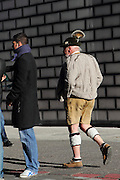 A man in traditional Bavarian dress in Munich