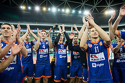 Players of ACH after the volleyball match between ACH Volley (SLO) and Modena Volley (ITA) in Round #1 of CEV DenizBank Champions League Men 2015/16, on November 5, 2015 in Arena Stozice, Ljubljana, Slovenia. Photo by Vid Ponikvar / Sportida
