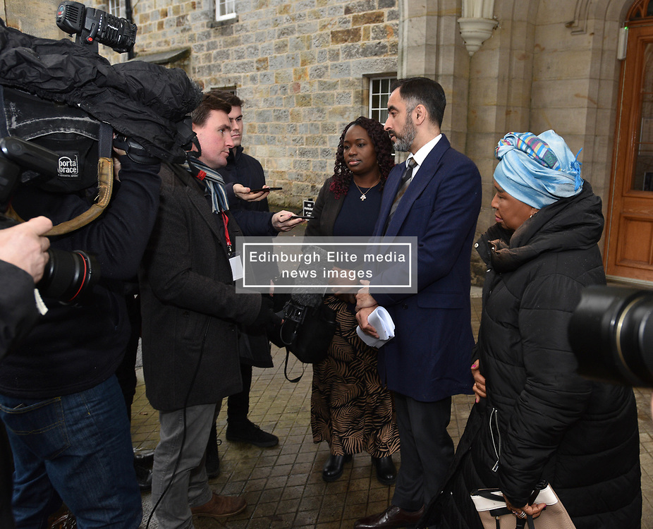 Pictured: Sheku's mother Aminata Bayoh and his sister Kadi Johnson with family lawyer Aamer Anwar<br /> <br /> The mother and sister of Sheku Bayoh, who died in police custody in Kirkcaldy in 2015, met with the Chief Constable of Police Scotland as part of their campaign into the death.<br /> <br /> © Dave Johnston / EEm