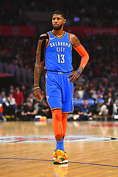 March 8, 2019 - Los Angeles, CA, U.S. - LOS ANGELES, CA - MARCH 08: Oklahoma City Thunder Forward Paul George (13) looks on during a NBA game between the Oklahoma City Thunder and the Los Angeles Clippers on March 8, 2019 at STAPLES Center in Los Angeles, CA. (Photo by Brian Rothmuller/Icon Sportswire) (Credit Image: © Brian Rothmuller/Icon SMI via ZUMA Press)