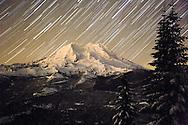 Mount Rainier startracks as viewed from the west along the Puyallup Ridge Trail, Mount Tahoma Trails, Ashford, WA, USA
