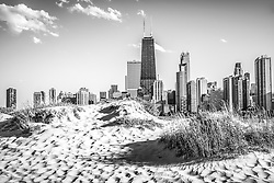 Chicago beach and skyline black and white photo.  Picture includes North Avenue Beach with the Hancock building which is one of the world's tallest skyscrapers. Photo is high resolution and was taken in 2012.