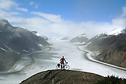 Brooks Allen in front of Salmon Glacier  (the fifth largest in North America) - Alaska - USA