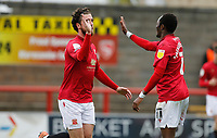 Football - 2020 / 2021 Sky Bet League Two - Morecambe vs. Bradford City<br /> <br /> Cole Stockton of Morecambe celebrates with Carlos Mendes Gomes after he scores to put Morecambe 2-0 ahead, at the Mazuma Stadium.<br /> <br /> COLORSPORT/ALAN MARTIN
