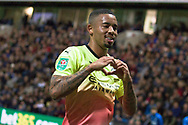Manchester City forward Gabriel Jesus celebrates his goal to make it 2-0  during the EFL Cup match between Preston North End and Manchester City at Deepdale, Preston, England on 24 September 2019.