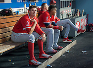Angels' starter Andrew Heaney waits to pitch during the Angels' Freeway Series game against the Dodgers Thursday night at Dodger Stadium.<br /> <br /> ///ADDITIONAL INFO:   <br /> <br /> freeway.0401.kjs  ---  Photo by KEVIN SULLIVAN / Orange County Register  --  3/31/16<br /> <br /> The Los Angeles Angels take on the Los Angeles Dodgers at Dodger Stadium during the Freeway Series Thursday.<br /> <br /> <br />  3/31/16