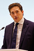 London, United Kingdom - 12 September 2019<br /> Johnny Mercer MP, Parliamentary Under-Secretary of State for Defence People and Veterans for the UK Government gives a keynote address speech and answers questions from the audience at DSEI 2019 security, defence and arms fair at ExCeL London exhibition centre.<br /> (photo by: EQUINOXFEATURES.COM)<br /> Picture Data:<br /> Photographer: Equinox Features<br /> Copyright: ©2019 Equinox Licensing Ltd. +443700 780000<br /> Contact: Equinox Features<br /> Date Taken: 20190912<br /> Time Taken: 10045050<br /> www.newspics.com